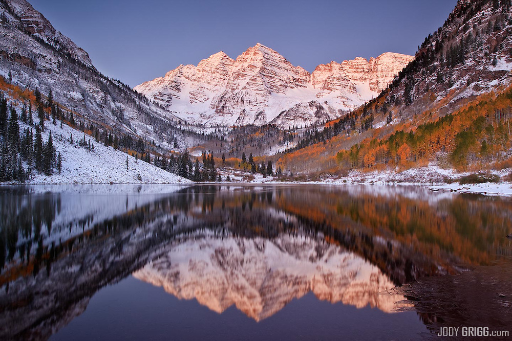 Twilight reflection of Colorado's famous Maroon Bells.