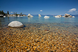 """""""Pebbles at Whale Beach 2"""" - These pebbles were photographed along the shore of Whale Beach on the East shore of Lake Tahoe. Whale Rock can be seen in the distance."""