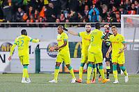 Joie Johan AUDEL / groupe Nantes - 20.12.2014 - Lorient / Nantes - 19eme journee de Ligue 1 -<br /> Photo : Vincent Michel / Icon Sport