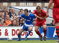 Photo: Ashley Pickering.<br /> Ipswich Town v Cardiff City. Coca Cola Championship. 06/05/2007.<br /> Francis Jeffers of Ipswich holds off Stephen McPhail of Cardiff