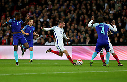 Jamie Vardy (C) of England competes during the International Friendly Match between England and the Netherlands at Wembley Stadium in London, Britain, on March 29, 2016. England lost 1-2. EXPA Pictures © 2016, PhotoCredit: EXPA/ Photoshot/ Han Yan<br /> <br /> *****ATTENTION - for AUT, SLO, CRO, SRB, BIH, MAZ, SUI only*****