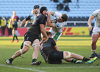 Rugby Union - 2020 / 2021 Gallagher Premiership - Round 12 - Harlequins vs Northampton Saints - The Stoop<br /> <br /> Northampton Saints' George Furbank is tackled by Harlequins' Stephan Lewies and Alex Dombrandt.<br /> <br /> COLORSPORT/ASHLEY WESTERN