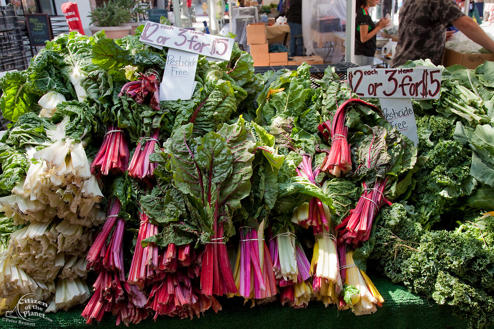 Pesticide free Greens, Culver City Farmer's Market Tuesday afternoons, Culver City, Los Angeles, California, USA