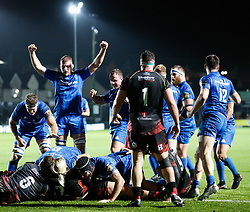 Leinster celebrate their  sides second try<br /> <br /> Photographer Simon King/Replay Images<br /> <br /> Guinness PRO14 Round 10 - Dragons v Leinster - Saturday 1st December 2018 - Rodney Parade - Newport<br /> <br /> World Copyright © Replay Images . All rights reserved. info@replayimages.co.uk - http://replayimages.co.uk