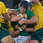 Sean 'Brien, Ireland, is tackled during the Australia V Ireland Pool C match during the IRB Rugby World Cup tournament. Eden Park, Auckland, New Zealand, 17th September 2011. Photo Tim Clayton..