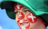 GEPA-1106086001 - BASEL,SCHWEIZ,11.JUN.08 - FUSSBALL - UEFA Europameisterschaft, EURO 2008, Schweiz vs Tuerkei, SUI vs TUR, Vorberichte. Bild zeigt einen Fan der Schweiz.<br />Foto: GEPA pictures/ Philipp Schalber