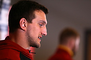 Sam Warburton of Wales speaks to the press during the Wales Rugby team announcement press conference at the Vale Resort, Hensol near Cardiff, South Wales on Wednesday 8th March 2017. The team are preparing for the the RBS Six nations match against Ireland.  pic by  Andrew Orchard, Andrew Orchard sports photography.