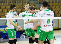 Andrej Tot and other players of Panvita celebrate during volleyball game between OK ACH Volley and OK Panvita Pomgrad in 1st final match of Slovenian National Championship 2013/14, on April 6, 2014 in Arena Tivoli, Ljubljana, Slovenia. Photo by Vid Ponikvar / Sportida