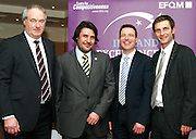 Dr Tony Lenehan (left) of Failte Ireland, Matt Fisher of EFQM, Dan Murphy general manager Galway Bay Hotel and Thomas Pirktl<br /> ceo Alpenresort Schwarz at the EFQM Ireland Excellence Awards ceremony in association with Fáilte Ireland and the Centre for Competitiveness at the Galway Bay Hotel on Friday night. Photo:- Andrew Downes Photography / No Fee