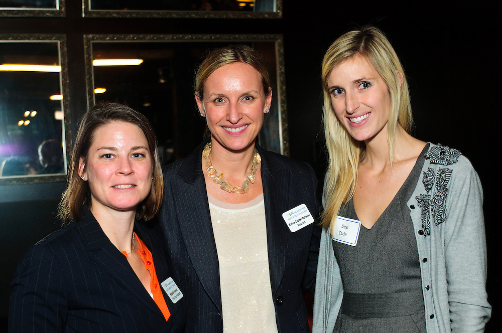 From left to right: The Women's Bar Association of Illinois (WBAI) First Vice President Michele Kohut of the law firm of Corboy & Demetrio joins WBAI President Karina Zabicki DeHayes of the law firm of Tabet DiVito & Rothstein LLC and Desi Cade, student at John Marshall Law School during a WBAI Joint New Members, New Lawyers, and Mentor/Mentee Reception at Paris Club in Chicago's River North neighborhood on Monday, October 22nd. © 2012 Brian J. Morowczynski ViaPhotos