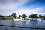 Henley-On-Thames, Berkshire, UK., Saturday, 14.08.21,  Henley Umpires Launch, Boadicea, using the gap in the booms by the Progress Board 2021 Henley Royal Regatta, River Thames, Henley Reach, Thames Valley, [Mandatory Credit © Peter Spurrier/Intersport Images],