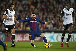 November 26, 2017 - Valencia, Valencia, Spain - Leo Messi, Parejo, Kondogbia during the match between Valencia CF vs. FC Barcelona, week 13 of La Liga at Mestalla Stadium, Valencia, SPAIN on 26th November 2017. (Credit Image: © Jose Breton/NurPhoto via ZUMA Press)