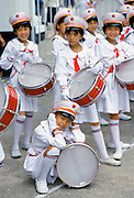 Schoolchildren in musical band in Canton, China