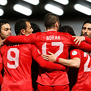 Turkey's Burak Yilmaz celebrate his goal with team mate during the FIFA World Cup 2014 qualification match Andorra betwen Turkey at the Andorra la Vella stadium in Andorra March 22, 2013. Photo by TURKPIX