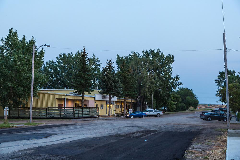 Riverhurst, Saskatchewan, at dusk, Saturday evening, Labour Day weekend, 2012