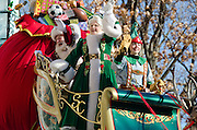 NEW YORK, NY, USA, Nov. 28, 2013. Santa and Mrs. Claus wave from their sleigh in the 87th Annual Macy's Thanksgiving Day Parade.