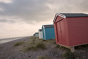 Beach houses along Findhorn beach on the 6th November 2018 in Findhorn, Scotland in the United Kingdom.