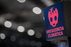 """4 December 2019, Madrid, Spain: """"Emergencia Climática"""" ('climate emergency') reads a sign at the COP25 venue in Madrid."""