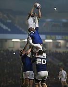 James Chisholm (Harlequins) catches in the line out during the 2015 Under 20s 6 Nations match between England and France at the American Express Community Stadium, Brighton and Hove, England on 20 March 2015.