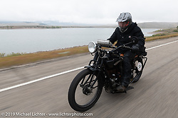 Kyle Rose of the Legends Motorcycle Museum in Utah riding his 1927 Indian on the Motorcycle Cannonball coast to coast vintage run. Stage 11 (248-miles) from Billings to Great Falls, MT. Tuesday September 18, 2018. Photography ©2018 Michael Lichter.