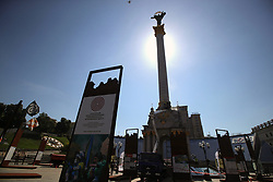 May 23, 2019 - Kyiv, Ukraine - The Independence Monument is being cleaned in Maidan Nezalezhnosti as part of the CLEAN DAY social action, Kyiv, capital of Ukraine, May 23, 2019. The victory column presenting a mix of Ukrainian Baroque and Empire style was erected in 2001 to mark the 10th independence of Ukraine. Ukrinform. (Credit Image: © Pavlo_bagmut/Ukrinform via ZUMA Wire)