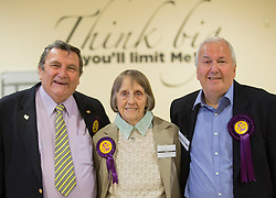 UKIPS Roger Herdman, Frances Fox,John Okonkowski  at the count in Peterborough as they take Conservative seats in 3 wards in the Peterborough area in the local elections, Friday 23rd May 2014.  i-Images