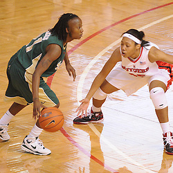 Jan 31, 2009; Piscataway, NJ, USA; Rutgers guard Brittany Ray (35) defends against South Florida guard Janae Stokes (21) during the second half of South Florida's 59-56 victory over Rutgers in NCAA women's college basketball at the Louis Brown Athletic Center