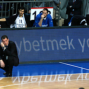 Anadolu Efes's coach Ufuk Sarica during their Turkish Basketball League match Anadolu Efes between Erdemir at Arena in Istanbul, Turkey, Wednesday, January 28, 2012. Photo by TURKPIX