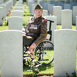 Mcc0055262.DT News.Bayeux Cemetery.The Service of Remembrance at the Commonwealth War Graves Commission Cemetery in Bayeux.Pic Shows 99 yr old Ken Scott of the Durham Light Infantry