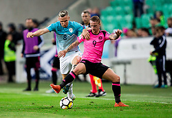 Jasmin Kurtic of Slovenia vs Leigh Griffiths of Scotland during football match between National Teams of Slovenia and Scotland of Fifa 2018 World Cup European qualifiers, on October 8, 2017 in SRC Stozice, Ljubljana, Slovenia. Photo by Vid Ponikvar / Sportida