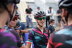 Elena Cecchini chats to her teammates at Grand Prix de Plouay Lorient Agglomération a 121.5 km road race in Plouay, France on August 26, 2017. (Photo by Sean Robinson/Velofocus)