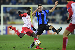 February 14, 2019 - Brugge, Belgium - BRUGGE, BELGIUM - FEBRUARY 14 : Diade Samassekou midfielder of FC Salzburg is challenged by Mats Rits midfielder of Club Brugge during the UEFA Europa League, Round of 32, 1st leg match between Club Brugge and FC Salzburg at the Jan Breydel stadium on February 14, 2019 in Brugge, Belgium, 14/02/2019  (Credit Image: © Panoramic via ZUMA Press)