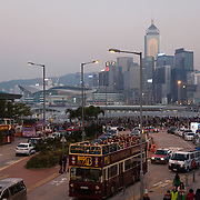 The harbour front where many tourist busses departs from and where people gather to cath various boat rides and go to the nearby fun fair. 7 million people live on 1,104km square, making it Hong Kong the most vertical city in the world.