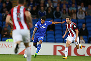 Nathaniel Mendez-Laing of Cardiff city © shoots and scores his teams 2nd goal. EFL Skybet championship match, Cardiff city v Sheffield Utd at the Cardiff City Stadium in Cardiff, South Wales on Tuesday 15th August 2017.<br /> pic by Andrew Orchard, Andrew Orchard sports photography.