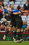 Steve Cook of Bournemouth (R) celebrates afterscoring their first goal to make it 0-1.<br /> Barclays Premier League match, Aston Villa v AFC Bournemouth at Villa Park in Birmingham, The Midlands on Saturday 09th April 2016.<br /> Pic by Ian Smith, Andrew Orchard Sports Photography.
