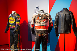 Race suits on display in Drag Racing: America's Fast Time - exhibition at the Harley-Davidson Museum during the Milwaukee Rally. Milwaukee, WI, USA. Saturday, September 3, 2016. Photography ©2016 Michael Lichter.