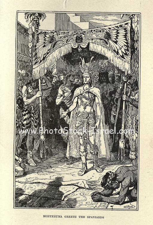 Montezuma Meets the Spaniards Illustrating the story ' The Conquest of Montezuma's Empire ' From the book ' The true story book ' Edited by ANDREW LANG illustrated by L. BOGLE, LUCIEN DAVIS, H. J. FORD, C. H. M. KERR, and LANCELOT SPEED. Published by Longmans, Green, and Co. London and New York in 1893