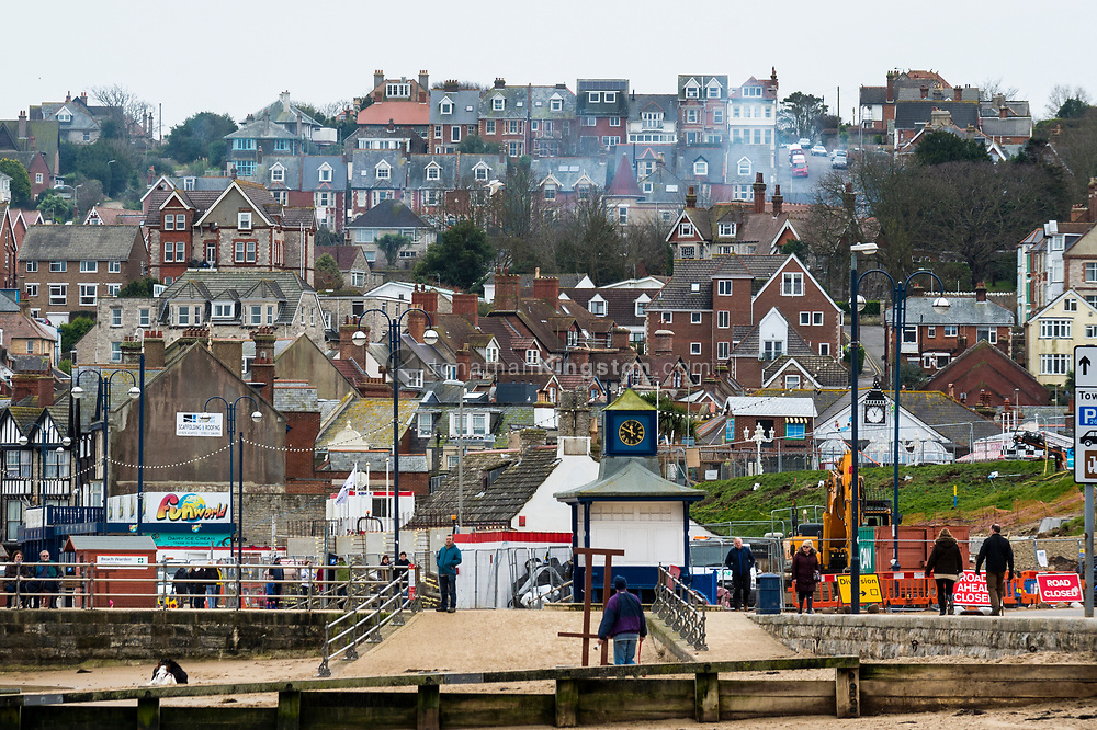 View of the coastal town of Swanage, England.