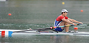 Bled, SLOVENIA,  FRA M1X, Semi finals, Julien BAHAIN competing in the semi final, men's single sculls at the  FISA World Cup, Bled. Held on Lake Bled.  Saturday  29/05/2010  [Mandatory Credit Peter Spurrier/ Intersport Images]<br /> Crew