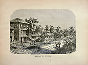 Village in Guiana from The merchant vessel : a sailor boy's voyages to see the world [around the world] by Nordhoff, Charles, 1830-1901 engraved by C. LaPlante; some illustrations by W.L. Wyllie Publisher New York : Dodd, Mead & Co. 1884