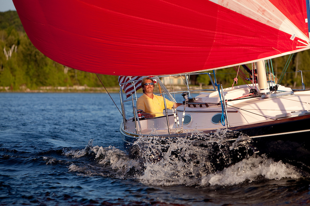 Sailing on the bay of Green Bay near Egg Harbor in Door County, Wisconsin.  Photo by Mike Roemer