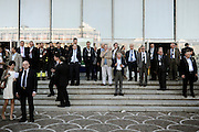 Partecipanti all'assemblea annuale della Confederazione Italiana Sindacati dei Lavoratori,osservano l'uscita delle autorità. Roma, 12 giugno 2013. Christian Mantuano / OneShot <br />