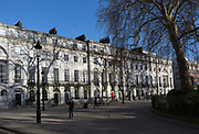 Period Georgian properties in Fotzroy Square in Bloomsbury, on 7th February 2018, in London, England. Fitzroy Square is one of the Georgian squares in London and is the only one found in the central London area known as Fitzrovia.
