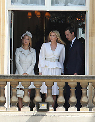 Ivanka Trump (centre) and Jared Kushner (right) during the Ceremonial Welcome at Buckingham Palace, London, on day one of his three day state visit to the UK.
