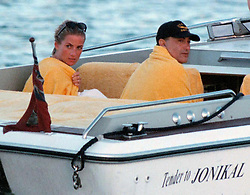 Princess Diana with Dodi Al Fayed in Sardinia. Half Length.
