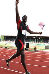 Justin Gatlin, 100 meters champion, Olympian, victory lap