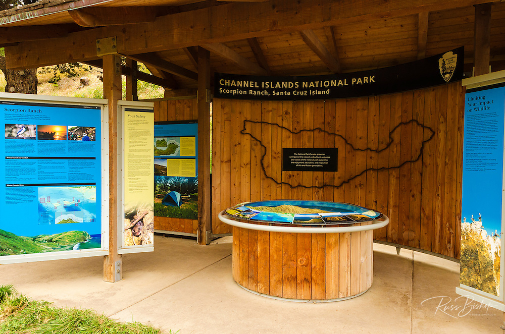 Interpretive display at Scorpion Ranch, Santa Cruz Island, Channel Islands National Park, California USA
