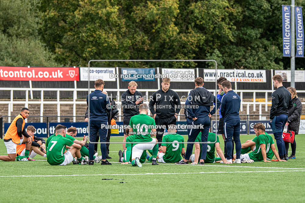 BROMLEY, UK - SEPTEMBER 22: Rob Mason, Manager of Soham Town Rangers, take a s team talk after the Emirates FA Cup Second Round Qualifier match between Cray Wanderers and Soham Town Rangers at Hayes Lane on September 22, 2019 in Bromley, UK. <br /> (Photo: Jon Hilliger)
