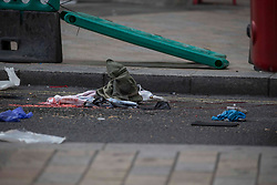 Licensed to London News Pictures. 28/09/2020. London, UK. Blood soaked clothing lies in the road after an accident in Oxford Circus, central London where a women was hit by a bus. Photo credit: Marcin Nowak/LNP