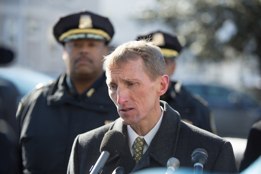 Boston, MA 02/07/2014<br /> Boston Police Commissioner William Evans addresses the media gathered on Morton Street on Friday afternoon at the scene of an accidental shooting that killed a 9 year old boy.<br /> Alex Jones / www.alexjonesphoto.com